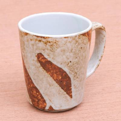 Ceramic mug, 'Natural Appeal' - Earth-Toned Ceramic Mug from Thailand