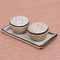 Ceramic salt and pepper set, 'Oatmeal Appeal' (3 pcs) - Oatmeal Colored Ceramic Salt and Pepper Set (3 Pieces)