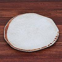 Ceramic plate, 'Natural Appeal' - Earth Toned Brown and White Ceramic Plate