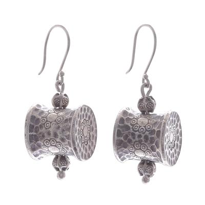 Silver dangle earrings, 'Karen Barrel' - Unique Hill Tribe 950 Silver Dangle Earrings