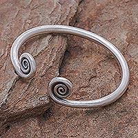 Silver cuff bracelet, 'Fiddlehead Fern' - Hill Tribe 950 Silver Spiral Cuff Bracelet