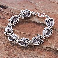 Silver link bracelet, 'Ornate Baubles' - Ornate 950 Silver Hill Tribe Style Link Bracelet