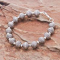 Silver beaded bracelet, 'Karen Whorl' - Spiral Beaded 950 Silver Bracelet