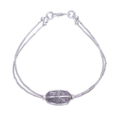 Silver beaded pendant bracelet, 'Karen Pleat' - Karen Hill Tribe Beaded 950 Silver Pendant Bracelet