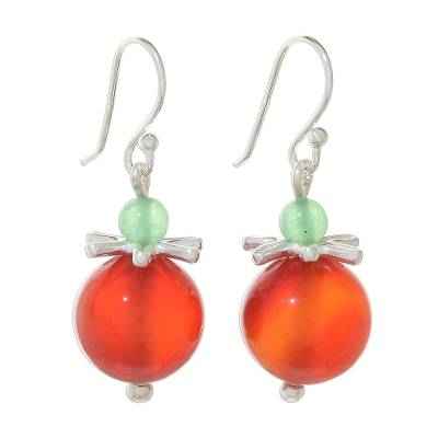 Carnelian and Aventurine Earrings with Hill Tribe Silver
