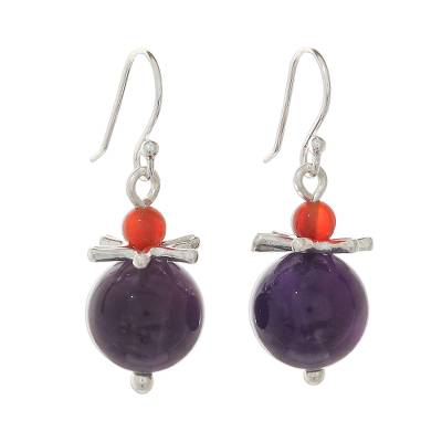 Amethyst and Carnelian Earrings with Hill Tribe Silver