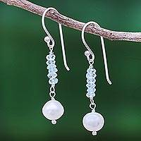 Blue topaz and cultured pearl dangle earrings, 'Iced' - Blue Topaz and Cultured Pearl Dangle Earrings