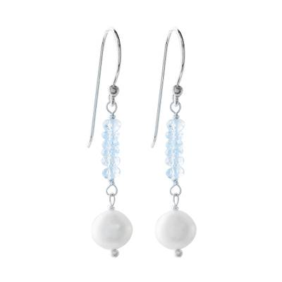 Blue Topaz and Cultured Pearl Dangle Earrings