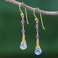 Gold plated kyanite and amethyst dangle earrings, 'Ocean Tears' - 24 Gold Plated Kyanite and Amethyst Earrings