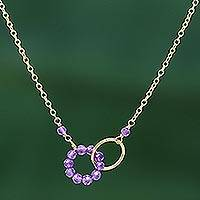 Gold plated amethyst pendant necklace, 'Two Circles United' - 24k Gold Plated Two Circle Amethyst Pendant Necklace