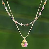 Gold plated tourmaline beaded necklace, 'Color of Nature' - Gold Plated Tourmaline and Hematite Necklace