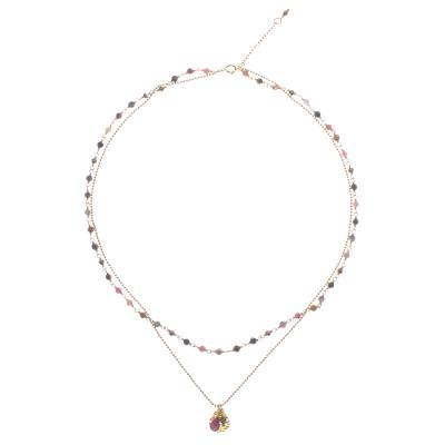 Gold Plated Tourmaline and Hematite Necklace