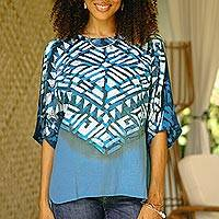 Cotton batik blouse, 'Blue Illusion' - Blue Cotton Batik Blouse Hand Crafted in Thailand