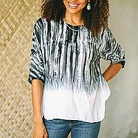 Cotton batik blouse, 'Black Rain' - Black and White Cotton Batik Blouse