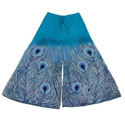 Cotton wide-leg cropped pants, 'Peacock Passion in Blue' - Peacock Batik Print Wide Leg Cropped Cotton Pants