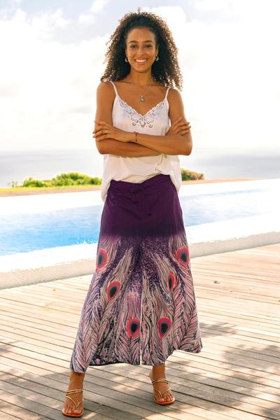 Cotton wide-leg cropped pants, 'Peacock Passion in Purple' - Purple Peacock Motif Batik Wide Leg Cotton Crop Pants
