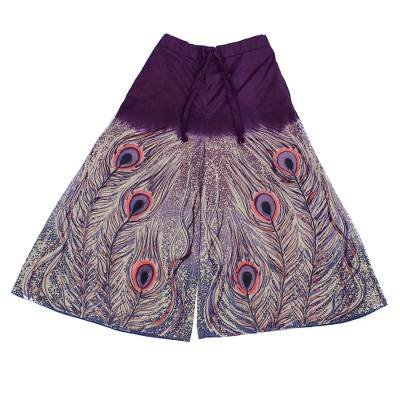 Cotton wide-leg cropped pants, Peacock Passion in Purple