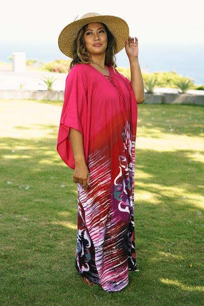 Cotton batik caftan, 'Fanfare in Fuchsia' - All Cotton Batik Caftan Dress in Fuchsia and Red