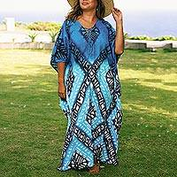 Cotton batik caftan, 'Thai Diamonds' - Peacock Blue Diamond Print Batik Caftan Dress
