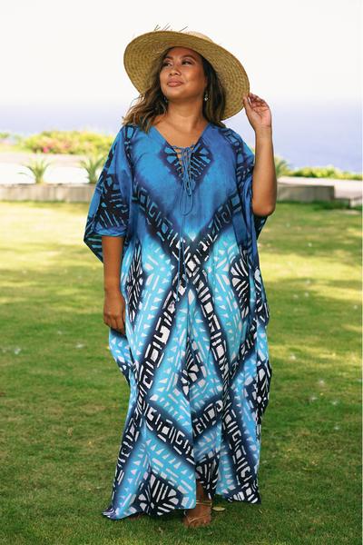 Cotton batik caftan, 'Thai Diamonds' - Peacock Blue Diamond Print Batik Caftan Dress
