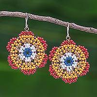 Beaded dangle earrings, 'Lanna Bloom in Red and Orange' - Red and Orange Beaded Flower Dangle Earrings