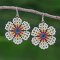 Beaded dangle earrings, 'Lanna Bloom in Light Green'