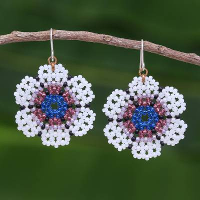 Beaded dangle earrings, 'Lanna Bloom in White and Blue' - White and Blue Beaded Flower Dangle Earrings