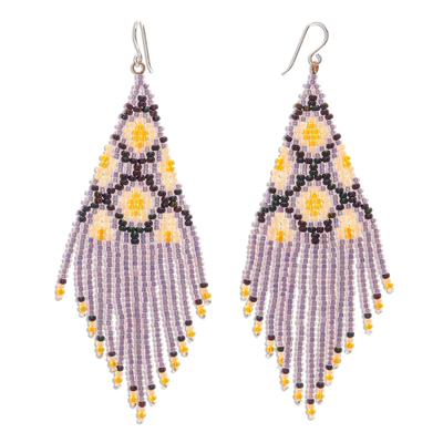 Beaded waterfall earrings, 'Lanna Cascade in Purple' - Purple Beaded Waterfall Earrings Handmade in Thailand