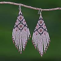 Beaded waterfall earrings, 'Lanna Cascade in Pink' - Pink/Multi Long Beaded Waterfall Earrings