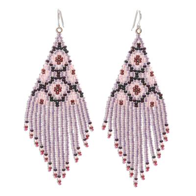 Beaded waterfall earrings, 'Lanna Cascade in Pink' - Pink/Multi Long Beaded Waterfall Earrings