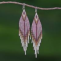 Beaded waterfall earrings, 'Lanna Arrow in Lilac' - Bohemian Style Long Beaded Waterfall Earrings