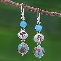 Jasper and quartz dangle earrings, 'Chiang Mai Fish' - Jasper and Quartz Dangle Earrings with 950 Silver
