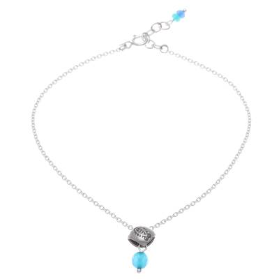 Fish Charm Sterling Silver and Quartz Anklet
