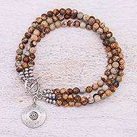 Jasper beaded bracelet, 'Infinite Earth' - Beaded Brown Jasper and 950 Silver Bracelet