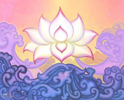 'A Lotus' - Buddhist Lotus Acrylic on Canvas Painting