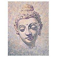 'Wisdom' - Tranquil Original Painting of Smiling Buddha