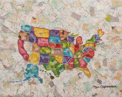 Cotton patchwork wall hanging, 'Map of the USA' - Stunning Batik Patchwork Wall Hanging of USA Map