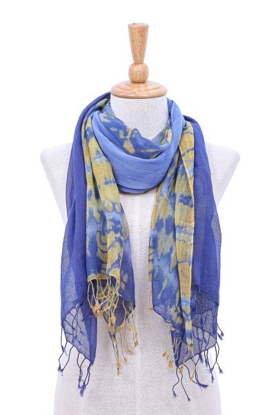 Cotton scarves, 'Wave of Love' (pair) - Pair of Cotton Tie-Dye Scarves in Blue and Yellow
