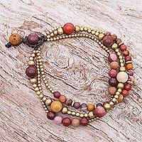 Jasper and brass beaded bracelet, 'Natural Wonders' - Multistrand Jasper and Brass Bead Bracelet