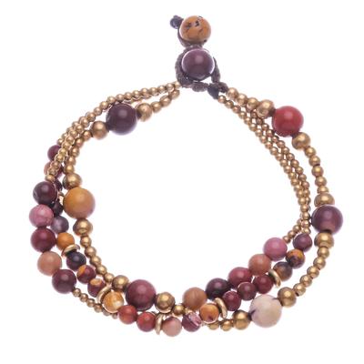 Jasper and brass beaded bracelet, 'Natural Wonders' - Multistrand Jasper and Brass Bead Bracelet