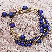 Lapis lazuli and brass beaded bracelet, 'Natural Wonders' - Blue Lapis Lazuli and Brass Beaded Bracelet