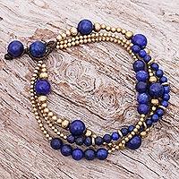 Lapis lazuli and brass beaded bracelet, 'Natural Wonders' - Blue Lapis Lazuli and Brass Beaded Bracelet