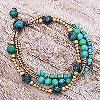 Serpentine and brass beaded bracelet, 'Natural Wonders' - Hand Crafted Brass Bead and Serpentine Bracelet