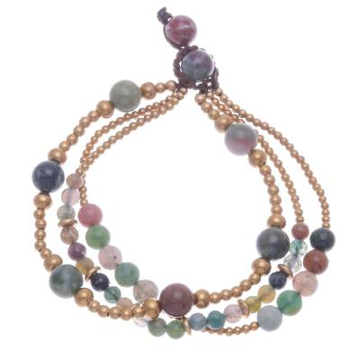 Agate and brass beaded bracelet, 'Natural Wonders' - Multicolored Agate and Brass Beaded Bracelet