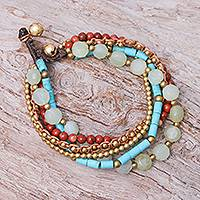 Quartz and jasper beaded bracelet, 'Bohemian Melange' - Five-Strand Beaded Gemstone Bracelet
