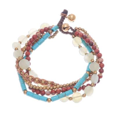 Quartz and jasper beaded bracelet, 'Bohemian Melange' - Five-Strand Beaded Gemstone Bracelet