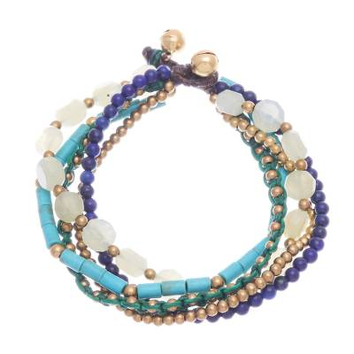 Lapis lazuli and quartz beaded bracelet, 'Bohemian Melange' - Bohemian Chic Multistrand Beaded Bracelet