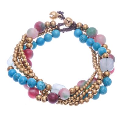 Multi-gemstone and brass beaded bracelet, 'Bohemian Melange' - Multi-gemstone Beaded Bracelet with Ringing Brass Bells