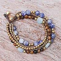 Sodalite and tiger's eye beaded bracelet, 'Bohemian Melange'