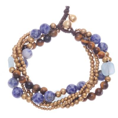 Sodalite and tiger's eye beaded bracelet, 'Bohemian Melange' - Sodalite and Tiger's Eye Beaded Bracelet from Thailand